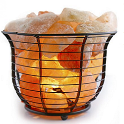 Crystal Allies Gallery Natural Himalayan Salt Wire Mesh Basket Lamp