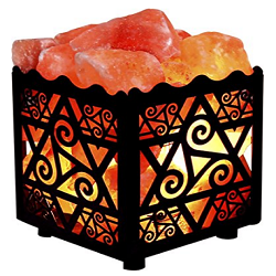 Crystal Decor Natural Himalayan Salt Lamp in Star Design Metal Basket
