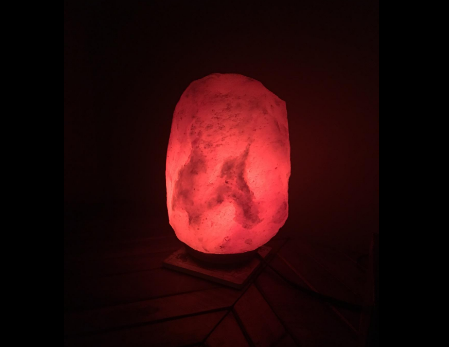 Natural Himalayan Hand Carved Salt Lamp with Indian Rosewood Base